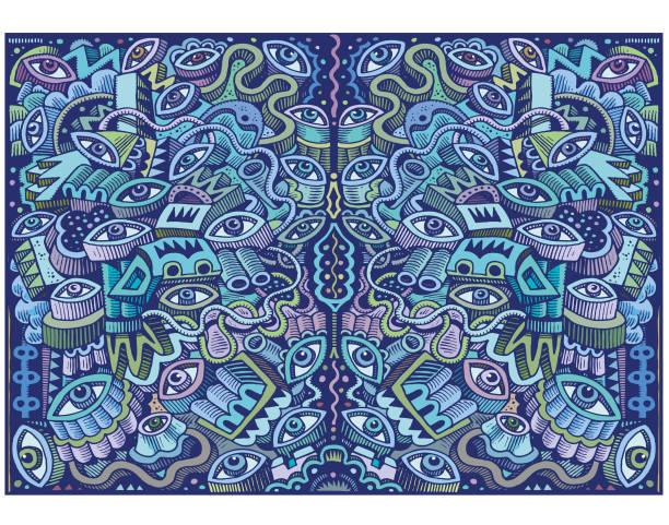 Great big blue doodle illustration vector art illustration