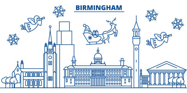 Great Britain, Birmingham winter city skyline. Merry Christmas, Happy New Year decorated banner with Santa Claus.Winter greeting line card.Flat, outline vector.Linear christmas snow illustration vector art illustration