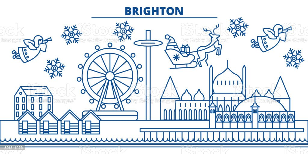 Great Britain, Brighton winter city skyline. Merry Christmas, Happy New Year decorated banner with Santa Claus.Winter greeting line card.Flat, outline vector.Linear christmas snow illustration vector art illustration