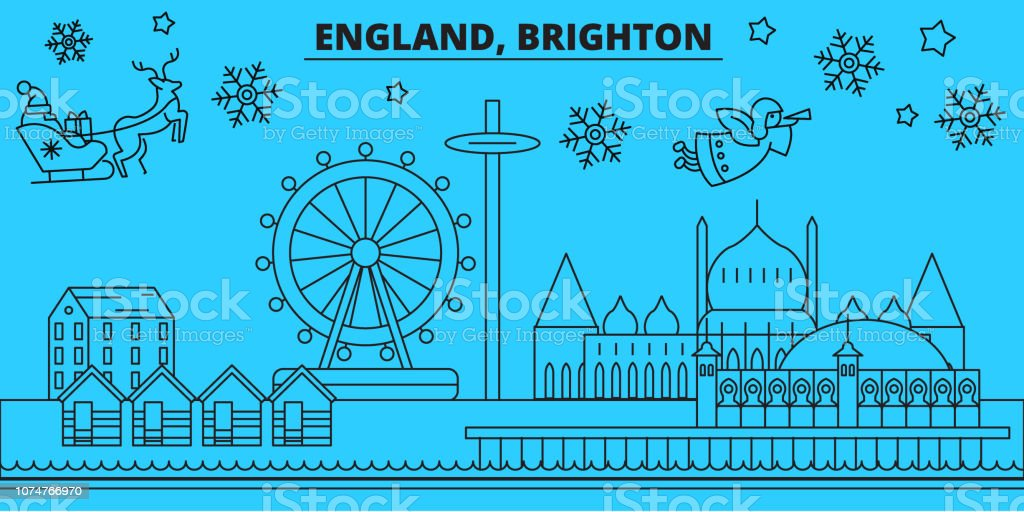 Great Britain, Brighton winter holidays skyline. Merry Christmas, Happy New Year decorated banner with Santa Claus.Great Britain, Brighton linear christmas city vector flat illustration vector art illustration