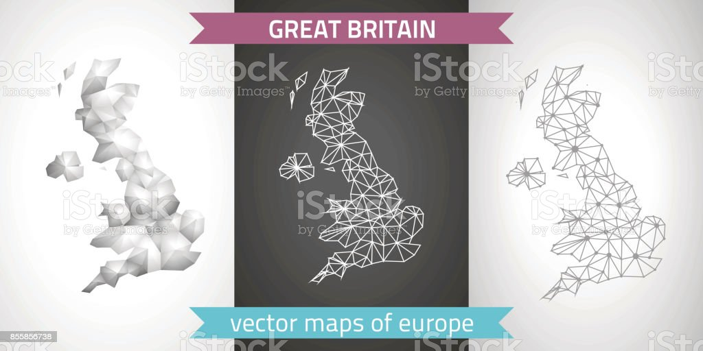 Great Britain collection of vector design modern maps, gray and black and silver dot contour mosaic 3d map vector art illustration