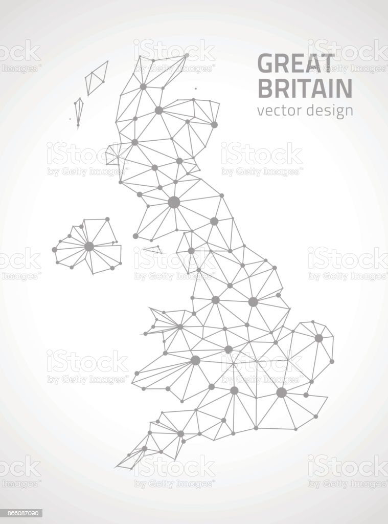 Great Britain contour vector  map vector art illustration