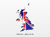 Great Britain detailed map with flag of country. Painted in watercolor paint colors in the national flag.