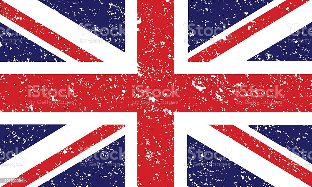 Great Britain Flag Map vector art illustration