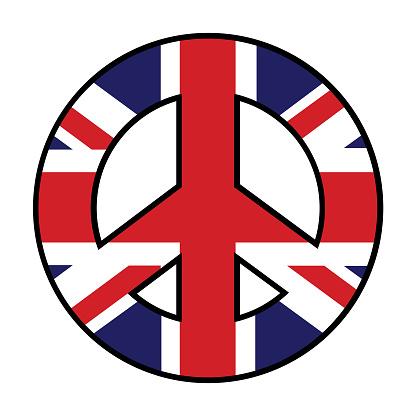 Great Britain Flag Peace Symbol