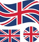 Great britain flag set. Rectangular, waving and round circle Union Jack flag. UK, british national symbol. Vector icons
