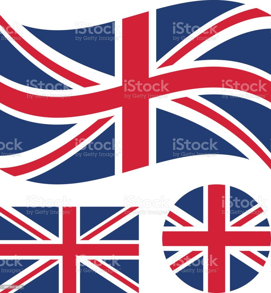 Great britain flag set. Rectangular, waving and round circle Union Jack flag. UK, british national symbol. Vector icons vector art illustration