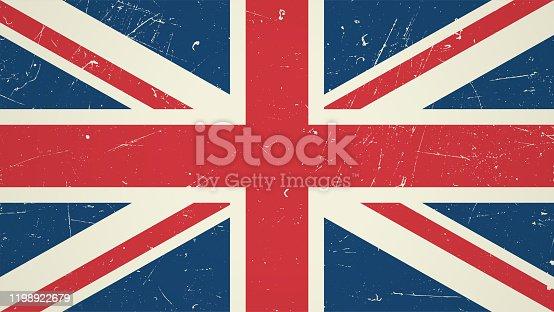 Great Britain flag with grunge texture. Vintage British flag.