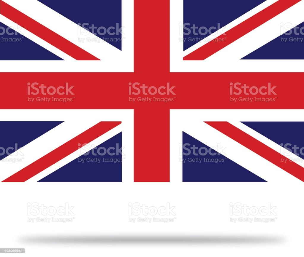 Great Britain Flag With Shadows vector art illustration