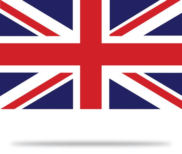 great britain flag with shadows - union jack flag stock illustrations, clip art, cartoons, & icons