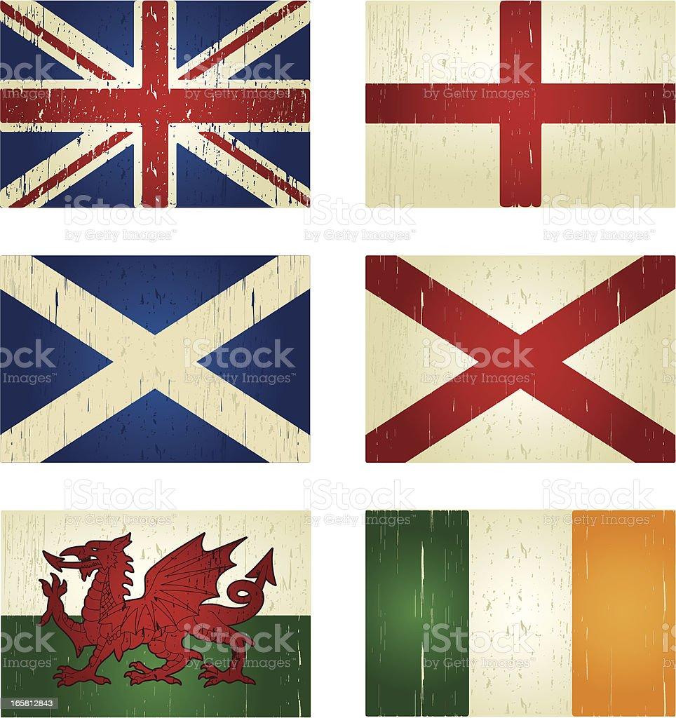 great britain grunge flags vector art illustration