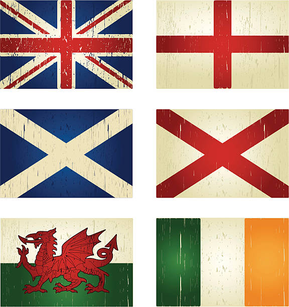 great britain grunge flags - wales stock illustrations, clip art, cartoons, & icons