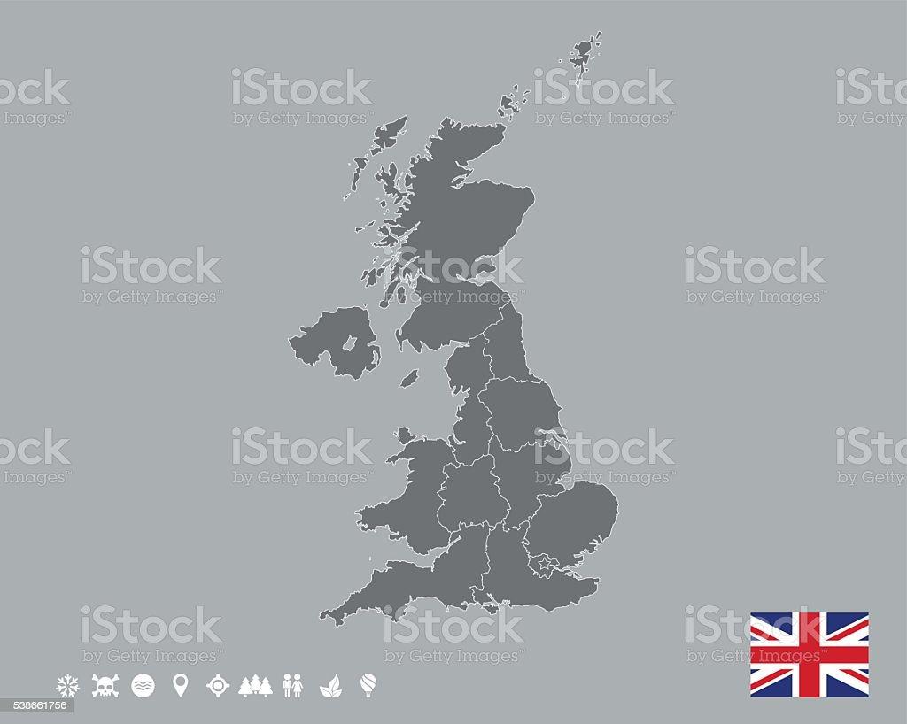 Great Britain Map Template vector art illustration