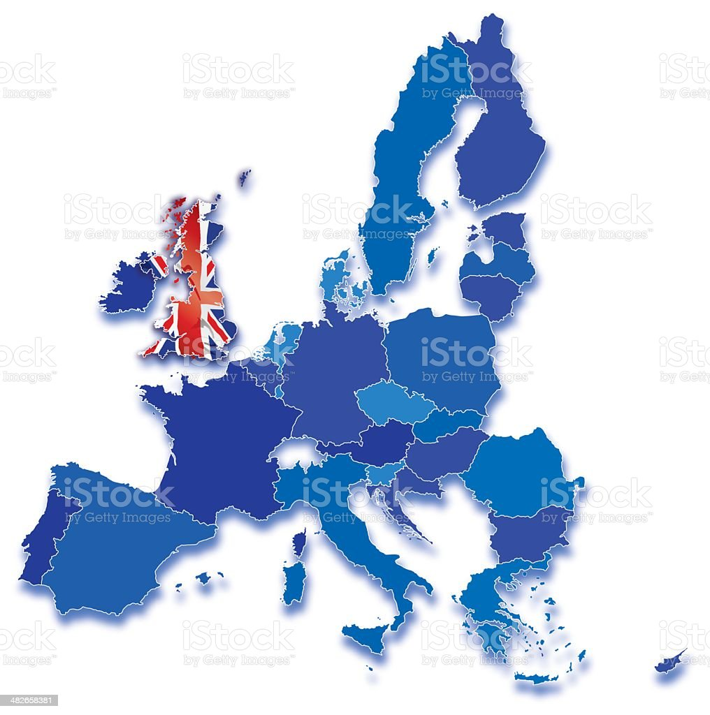 Great Britain on map of European Community with all countries vector art illustration