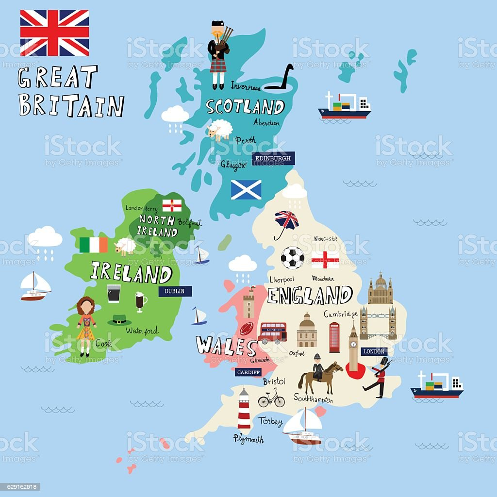 Great Britain Picture Map Vector Illustration Eps10 Stock Vector Art