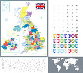 Great Britain Political Map and Map Pointers