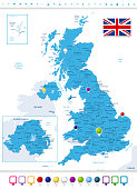 Great Britain Political Map with Map Pointers