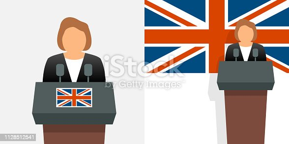 UK prime minister and flag