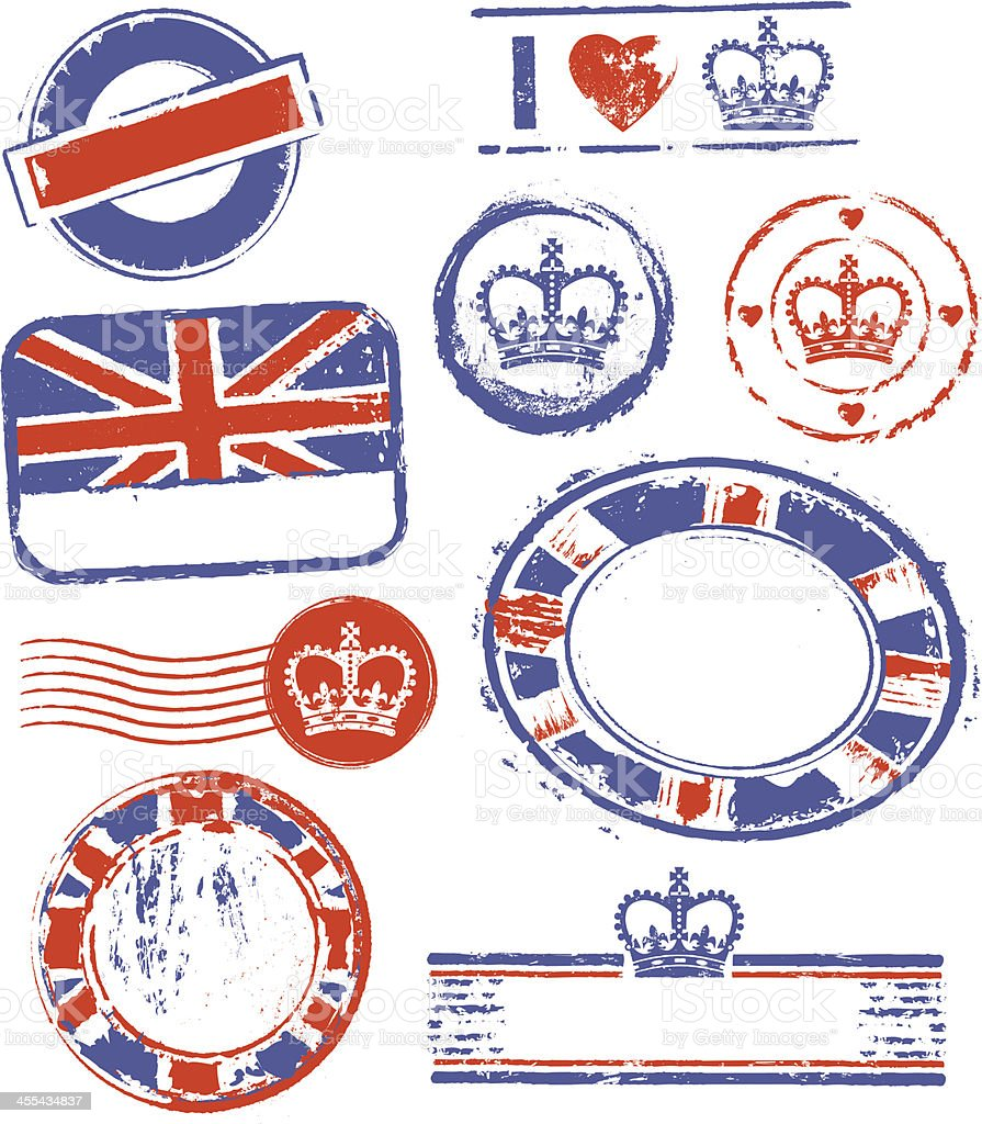 Great Britain Rubber Stamps royalty-free stock vector art