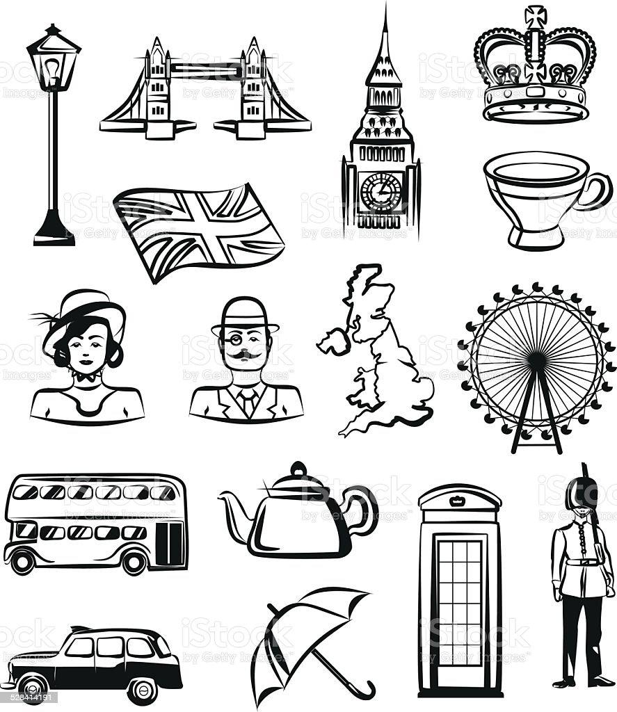 Gran Bretaña Vector Conjunto De Icono De Pictograma De Marco Negro ...