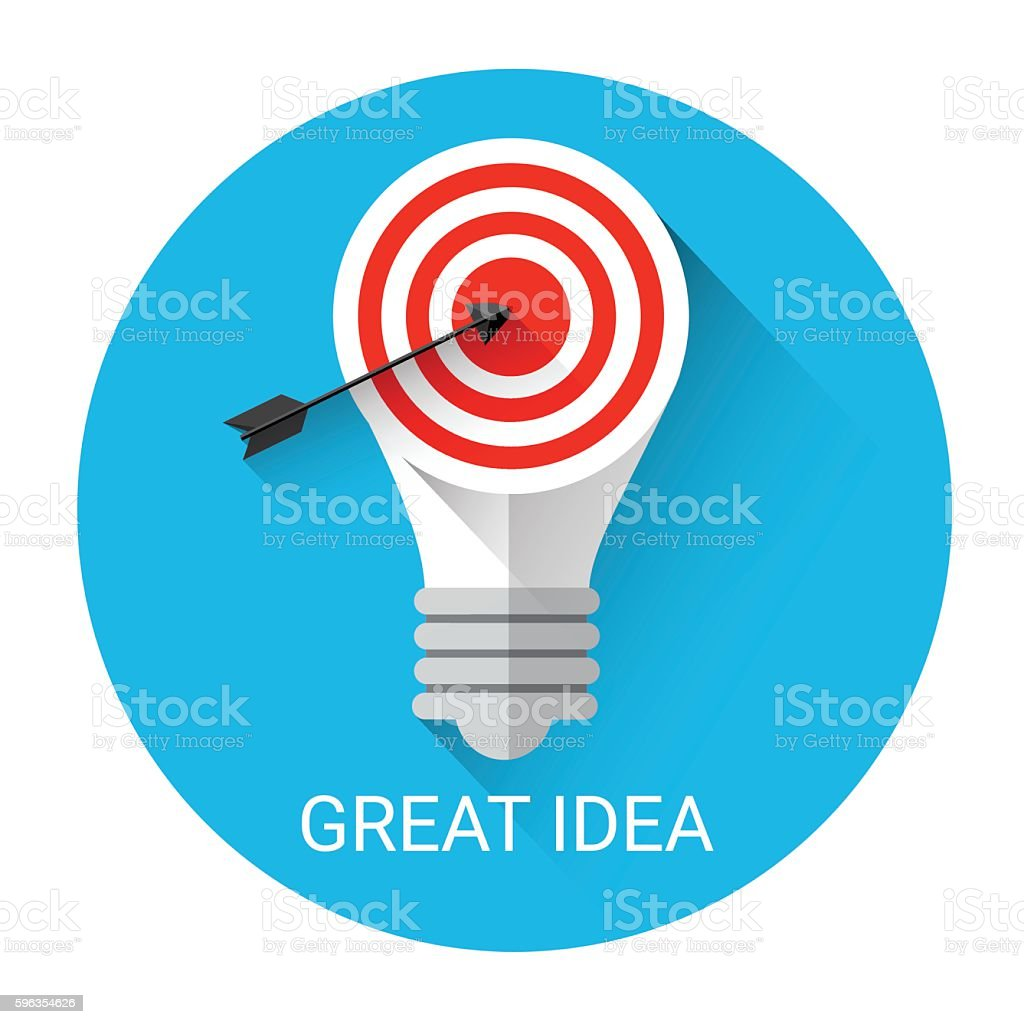 Great Business Idea Light Bulb With Target Icon royalty-free great business idea light bulb with target icon stock vector art & more images of abstract