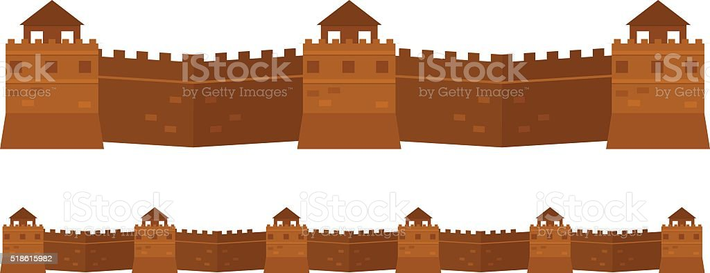 Great Chinese Wall old architecture famous attributes vector vector art illustration