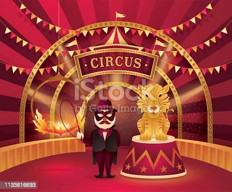 Great Circus show, Tiger on a circus stand and Performer Controlling with Ring of Fire, Red and Gold stage with Circus Frame, triangle bunting flags, Animal Fun Fair, Day Scene Carnival festival, Paper art vector and illustration