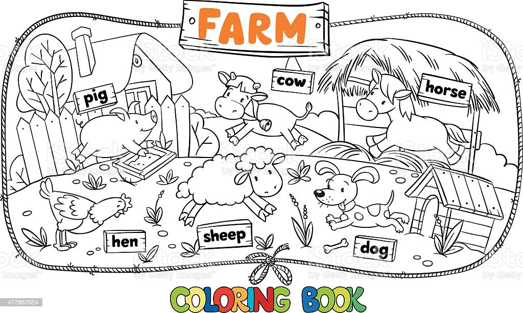 Great coloring book with farm animals vector art illustration