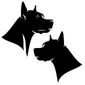 great dane dog black vector head