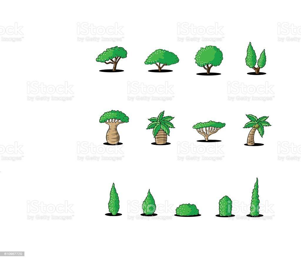 Great designed cartoon trees vector art illustration