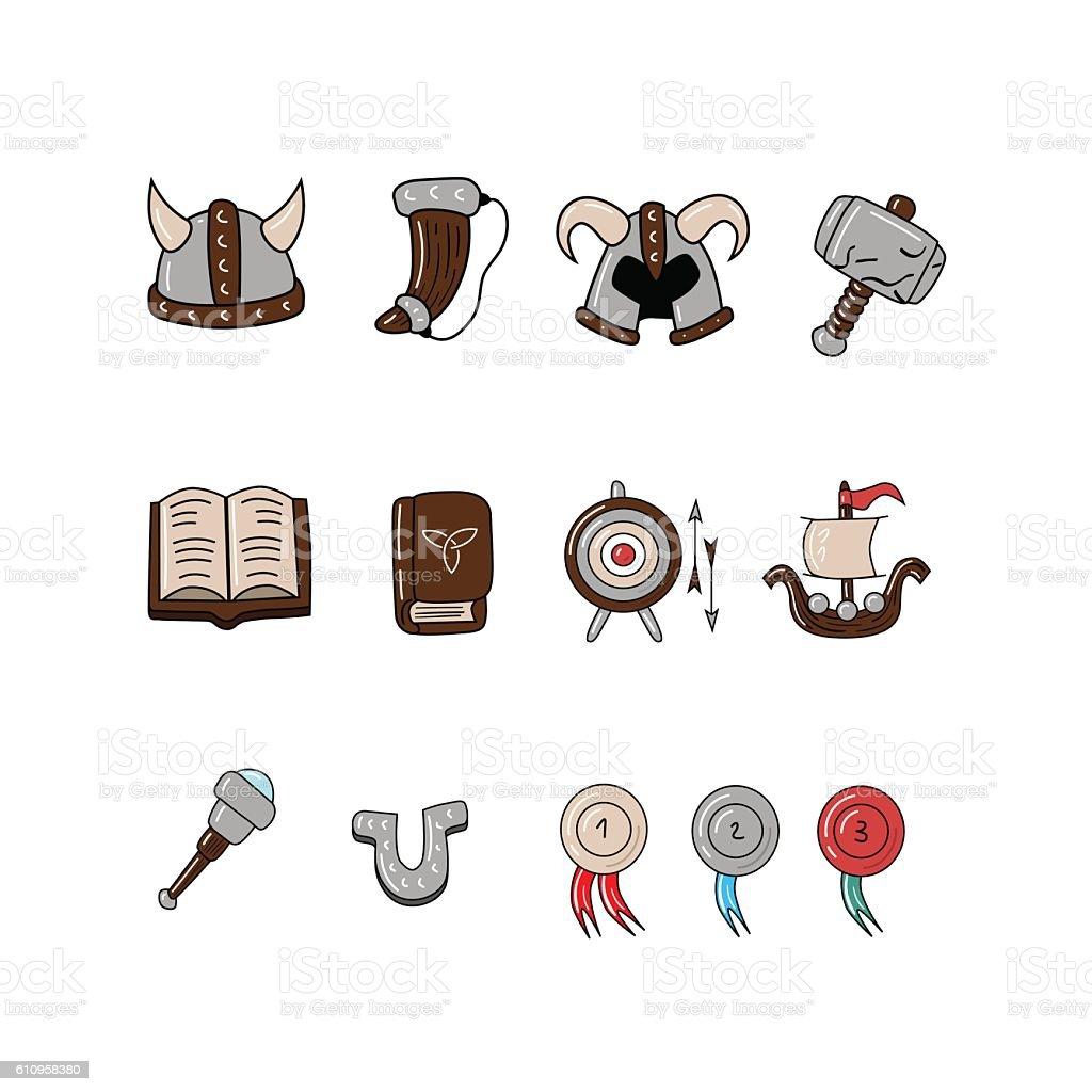 Great designed cartoon viking icons vector art illustration