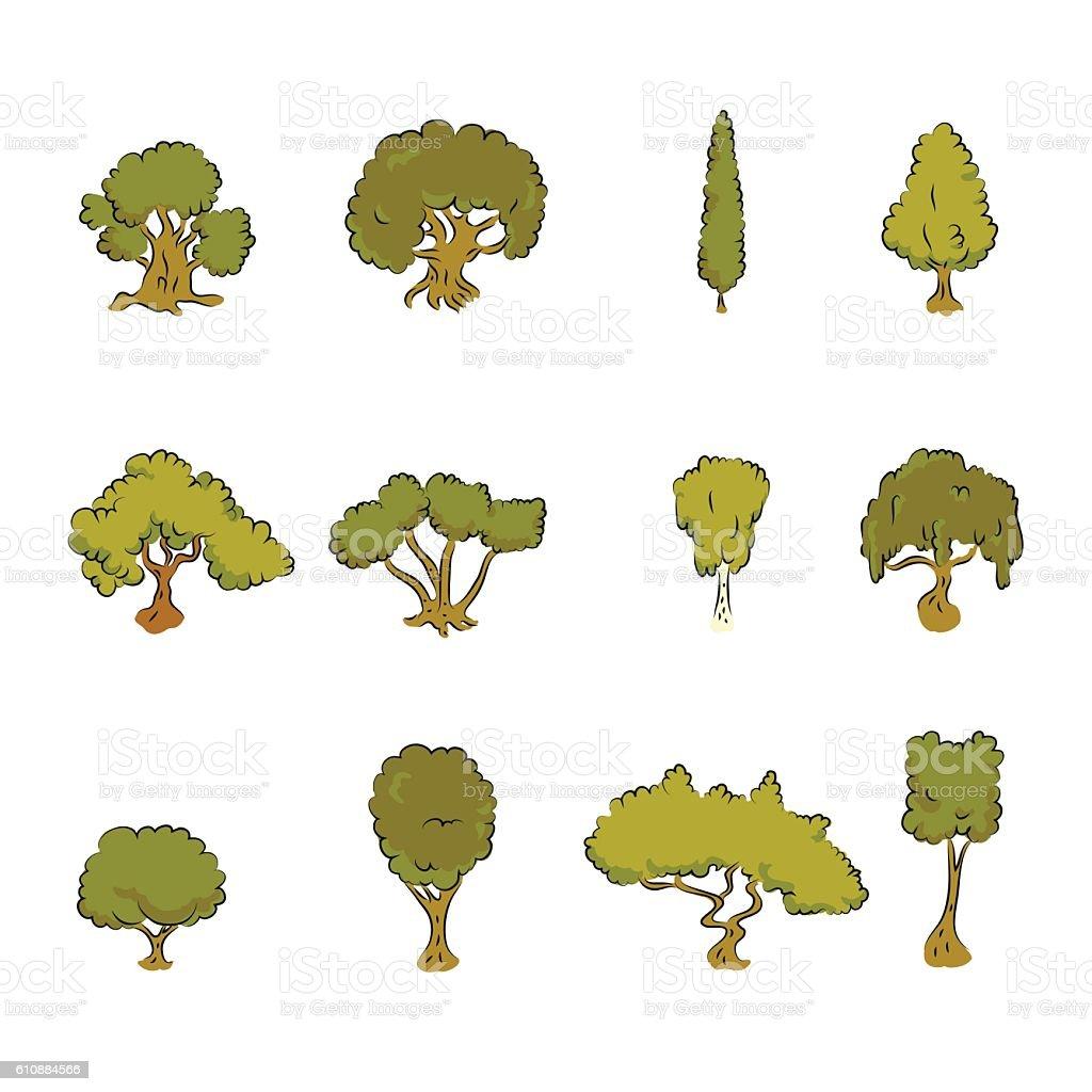 Great designed trees vector art illustration