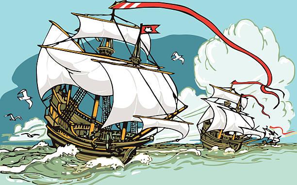 great odkryć-trzy galeonów żeglarstwo - columbus day stock illustrations