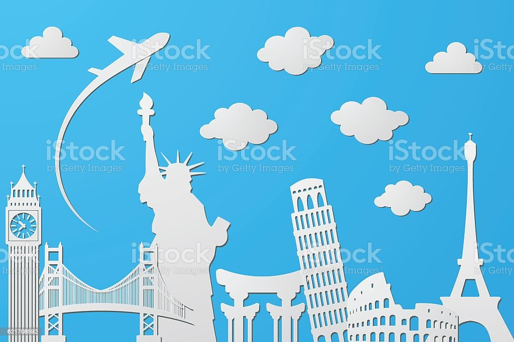 great famous buildings, achievement and pride of mankind vector art illustration