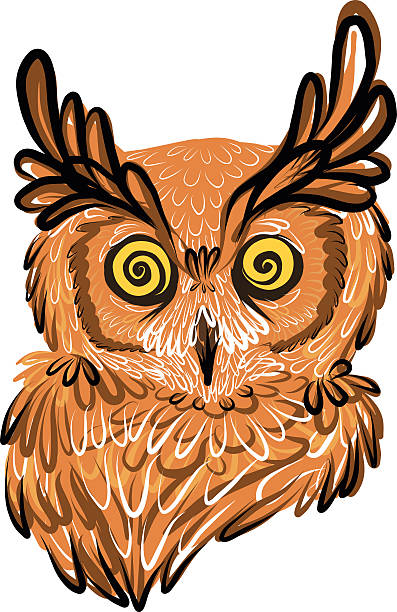 great horned owl icon illustration - great horned owl stock illustrations, clip art, cartoons, & icons
