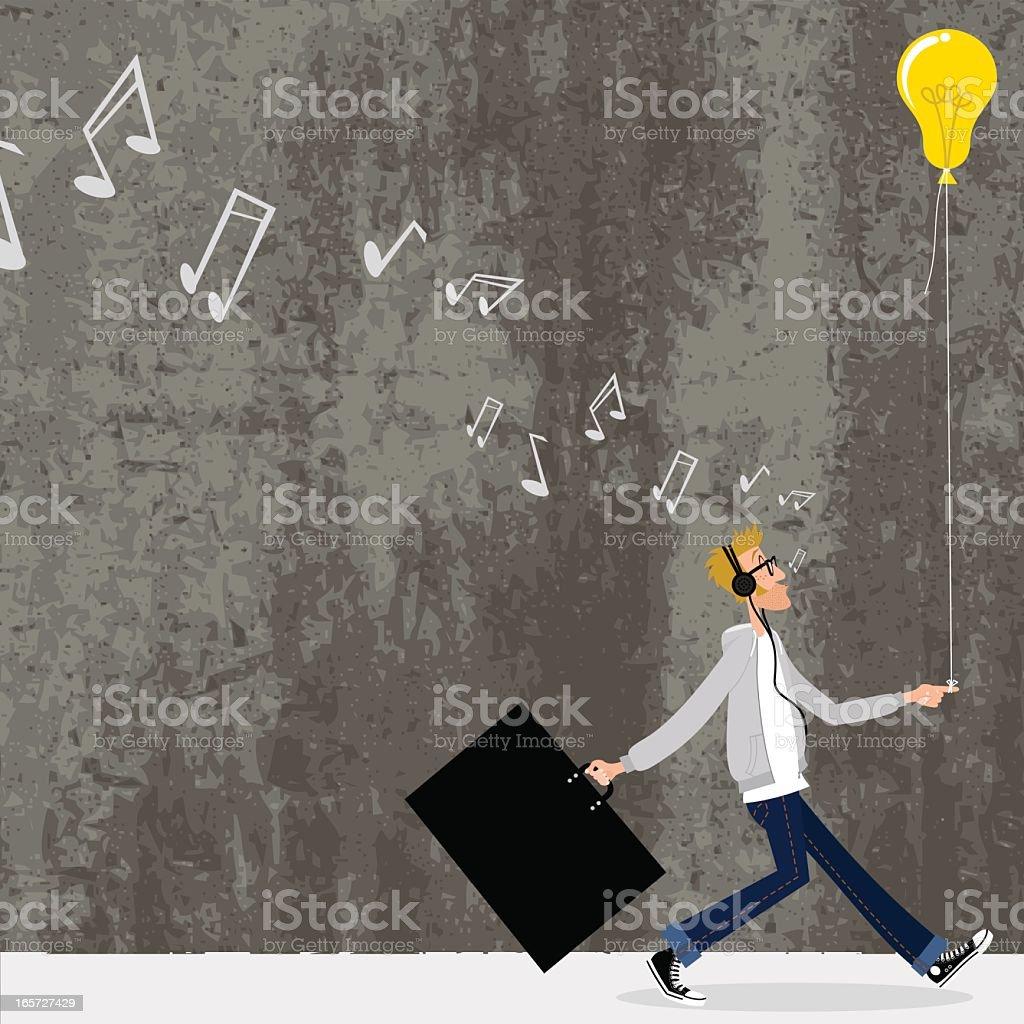 Great idea. Designer going to a job interview vector art illustration
