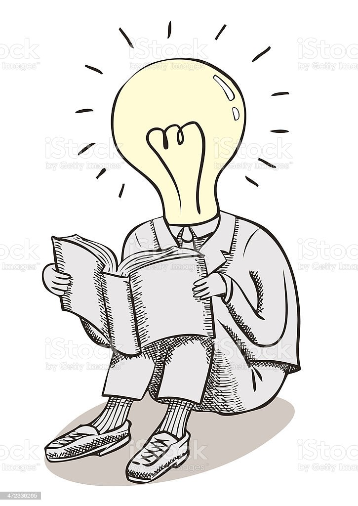 Great ideas — Lightbulb man, Reading royalty-free stock vector art