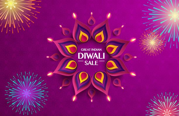 great indian diwali festival big sale. background with the paper graphic of indian rangoli and fireworks. - diwali stock illustrations