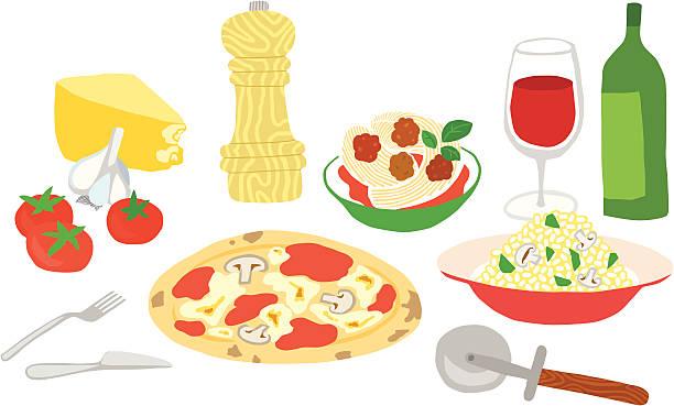 großartige italienische speisen mit - risotto stock-grafiken, -clipart, -cartoons und -symbole