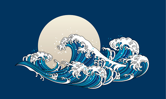 Great Japan wave ocean oriental style vector.