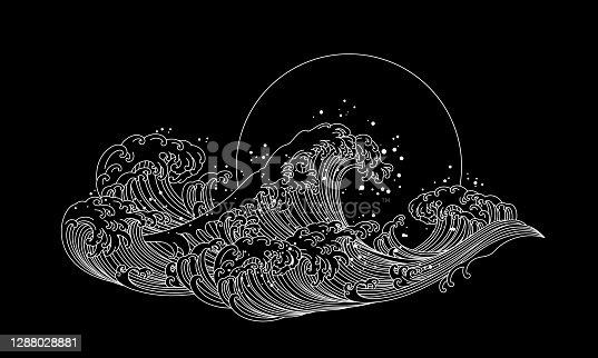 istock Great Japan wave of Kanagawa line art oriental style vector. 1288028881