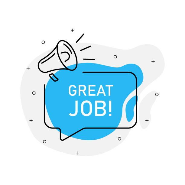 ilustrações de stock, clip art, desenhos animados e ícones de great job of marketing design badge with loudspeaker blue color. vector illustration on white background. - job