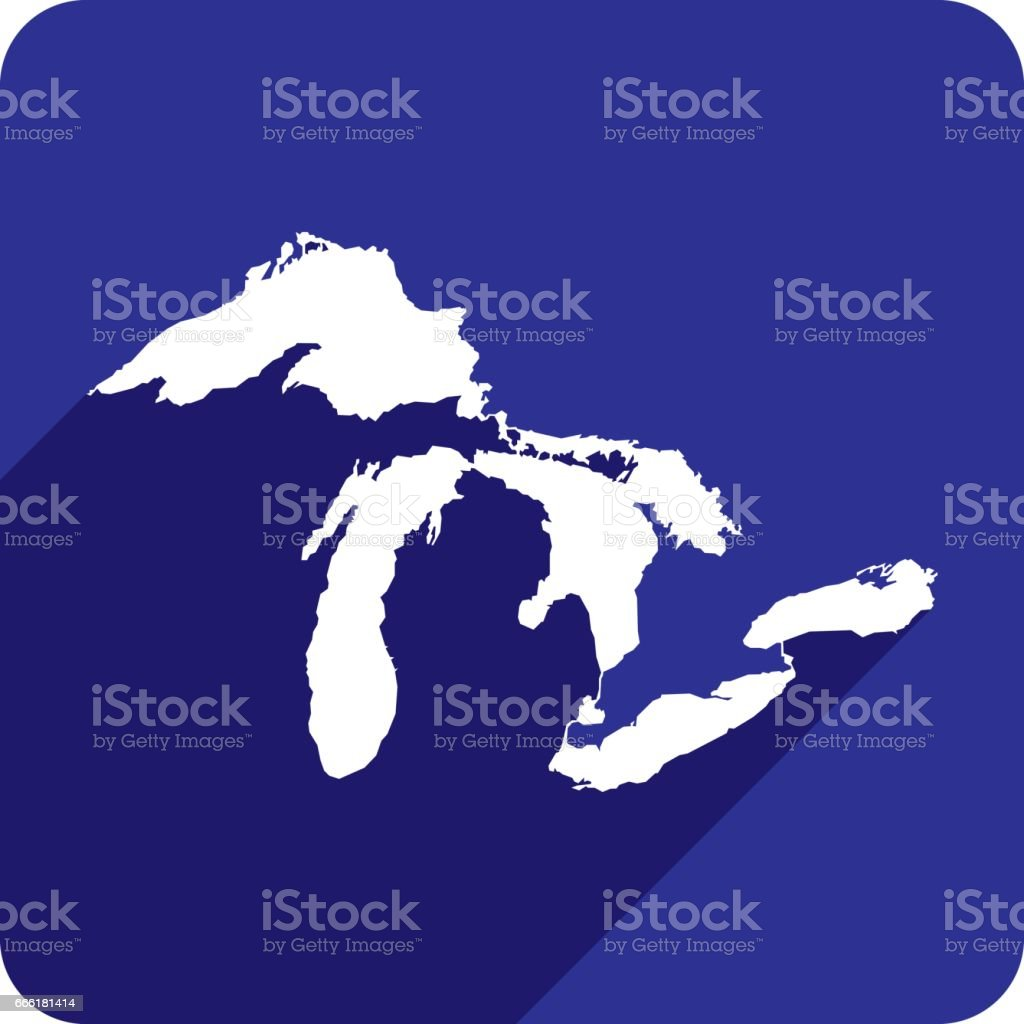 Great Lakes Icon Silhouette vector art illustration