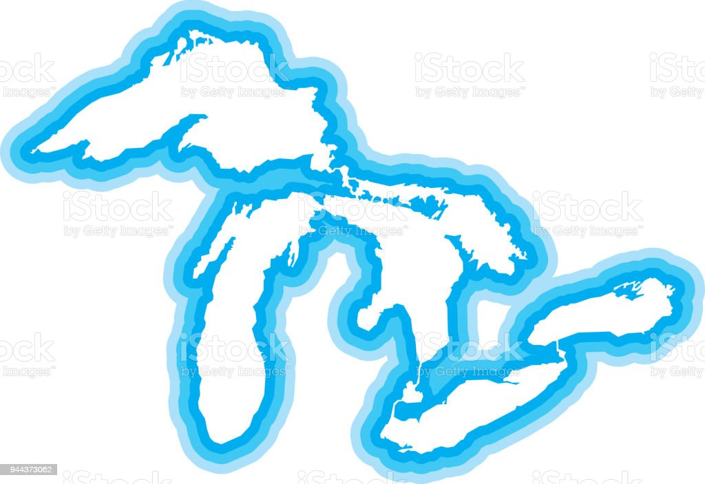 great lakes outline blue stock vector art more images of great