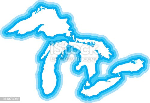 Vector illustration of a blue outlined Great Lakes icon.