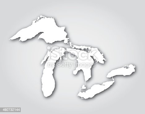 Vector silhouette of the Great Lakes in white with a drop shadow.