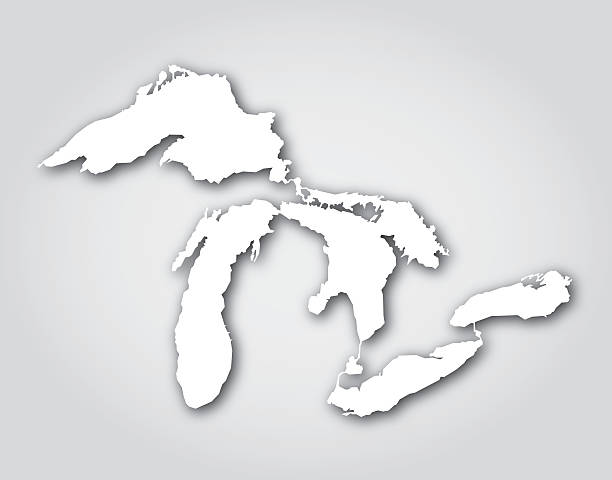 great lakes silhouette white - lake superior stock illustrations, clip art, cartoons, & icons
