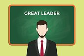 great leader illustration with a man wearing a black suit in front of green chalk board and white text