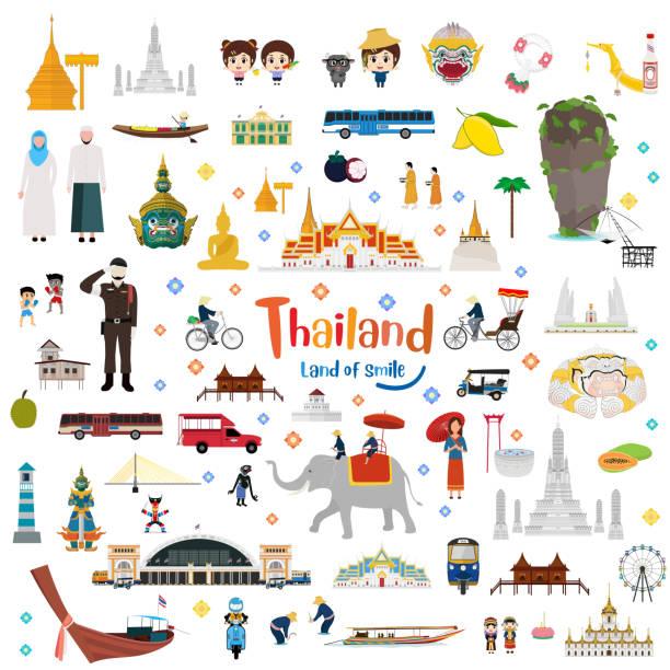 wielki tajlandii i złoty wielki pałac - tajlandia stock illustrations