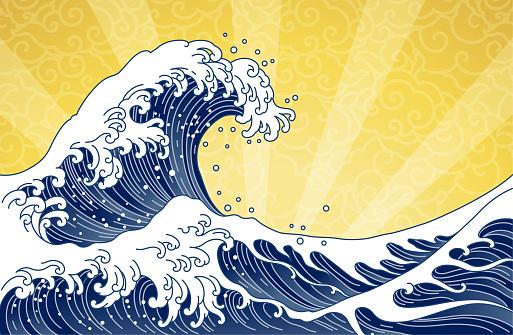 Great orient Japan ocean wave art illustration